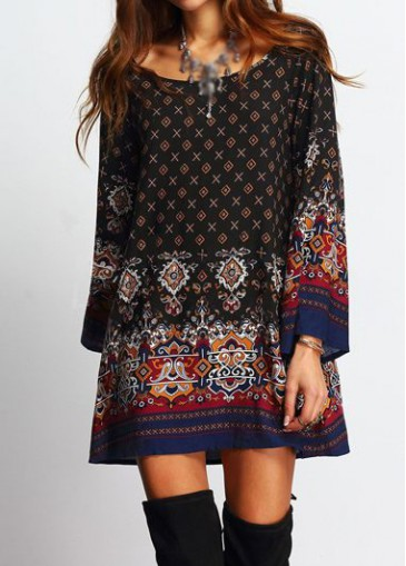 Buy online Round Neck Tribal Print Mini Dress