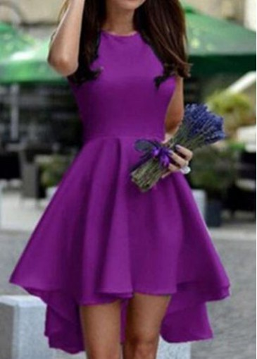 Buy online Purple Round Neck High Low Dress