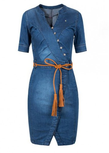 Buy online Navy Blue Denim Short Sleeve Dress