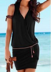 V Neck Belt Design Black Dress