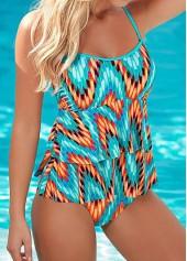 Open Back Cyan Printed One Piece Swimwear