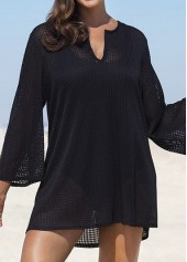 Solid Black Long Sleeve Sexy Cover Up