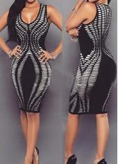 Round Neck Sleeveless Printed Black Sheath Dress