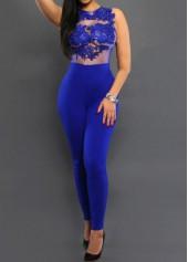 Lace Panel Round Neck Blue High Waist Jumpsuit