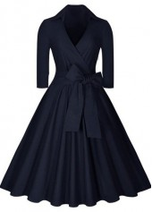 Navy Blue High Waist Knee Length Dress