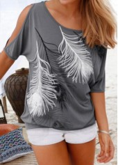 Grey Cold Shoulder Feather Print T Shirt