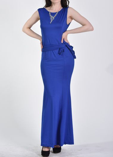 Royal Blue Open Back Maxi Dress