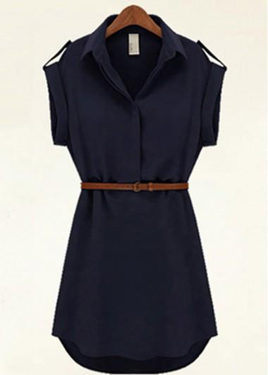 Cap Sleeve Asymmetric Belted Chiffon Dress