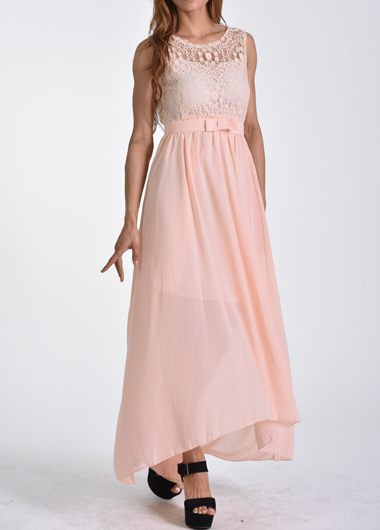 Lace Splicing Open Back Pink Maxi Dress