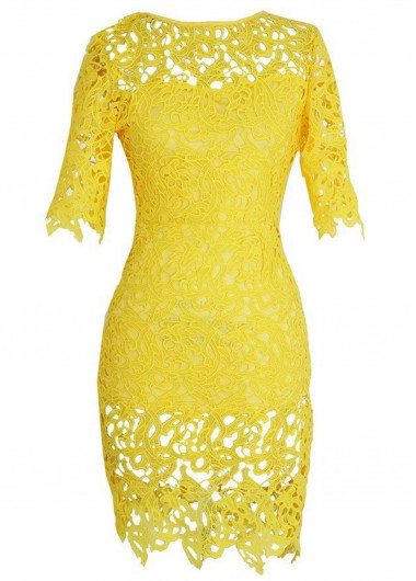 Yellow Hollow Design Round Neck Lace Dress