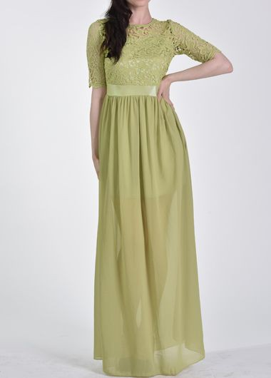 Chiffon Green Half Sleeve Lace Splicing Maxi Dress