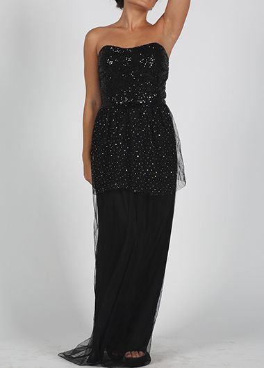 Solid Black Sequined Strapless Maxi Dress