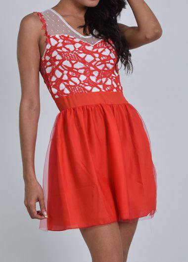 Red Lace Crochet Hollow Back Mini Dress