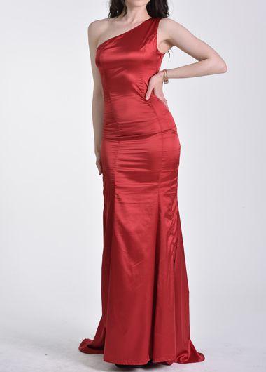 One Shoulder Sleeveless Wine Red Mermaid Dress