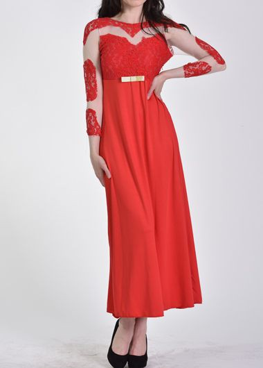 Red Lace and Mesh Splicing Prom Maxi Dress