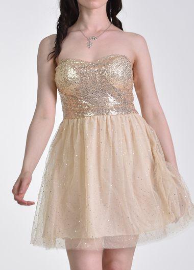 Strapless Sequin Embellished A Line Dress