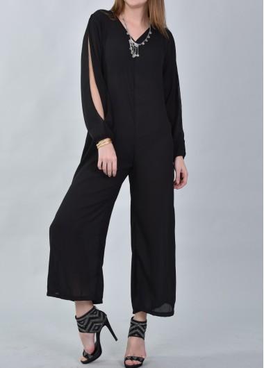 Black Slit Sleeve V Neck Loose Jumpsuit
