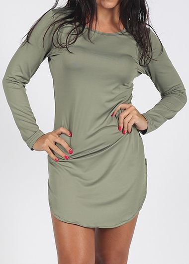 Long Sleeve Army Green Curved Dress