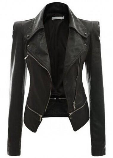 Zipper Closure Long Sleeve Black Jacket