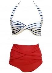 White and Red Halter Neck Stripe Printed Bikini