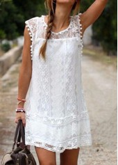 Solid White Round Neck Cap Sleeve Lace Shift Dress