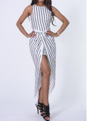 Striped Round Neck High Low Tank Dress