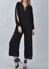 Black Slit Sleeve V Neck Loose Jumpsuit