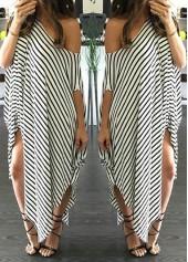 Skew Neck Stripe Print Asymmetric Shift Dress