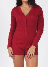 Long Sleeve Wine Red V Neck Romper
