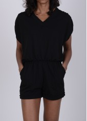 Cutout Back V Neck Short Sleeve Black Rompers