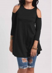Round Neck Cold Shoulder Black Blouse