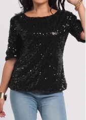 Sequins Decorated Solid Black T Shirt