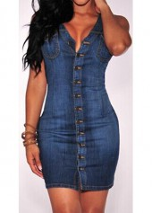 Button Closure Sleeveless Navy Blue Bodycon Dress