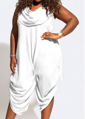 Cowl Neck Solid White Sleeveless Jumpsuit