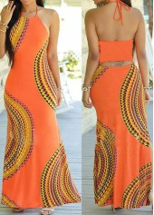 Open Back Cutout Waist Maxi Dress