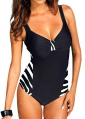 Stripe Print Cutout Back One Piece Swimwear