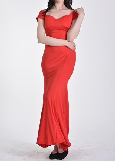 Boat Neck Short Sleeve Red Mermaid Maxi Dress