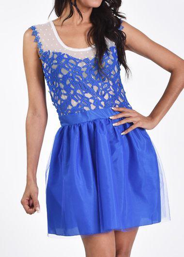 Sleeveless Blue Lace Crochet A Line Dress