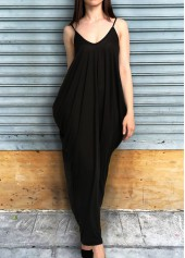 Pocket Design Solid Black Maxi Dress