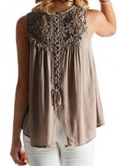 Round Neck Lace Panel Coffee Blouse