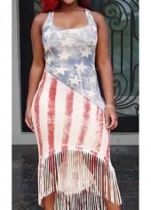Star and Stripe Print High Low Dress