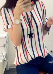 Round Neck Stripe Print T Shirt