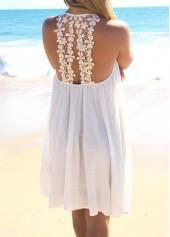 Lace Panel Round Neck Chiffon Dress