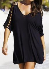 V Neck Half Sleeve Solid Black Straight Dress