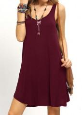 Round Neck Sleeveless Wine Red Dress