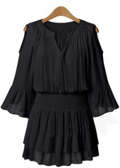 V Neck Flare Sleeve Black Dress