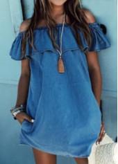 Off the Shoulder Denim Blue Straight Dress