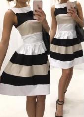 Patchwork Design Sleeveless High Waist Dress