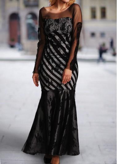 Black Mesh Splicing Long Sleeve Mermaid Dress
