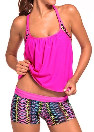 Round Neck Top and Printed Shorts Swimwear